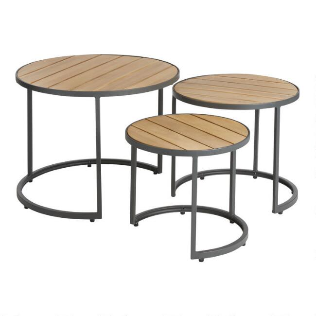 Gray Wood And Metal Alicante Outdoor Accent Tables Set of 3