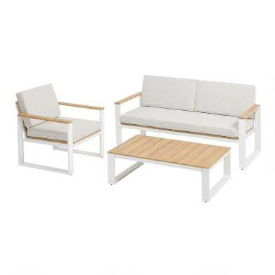 White Steel and Acacia Ravello Outdoor Occasional Collection