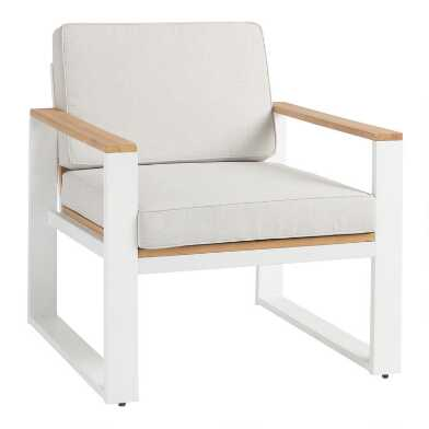 White Steel and Acacia Ravello Outdoor Occasional Chair