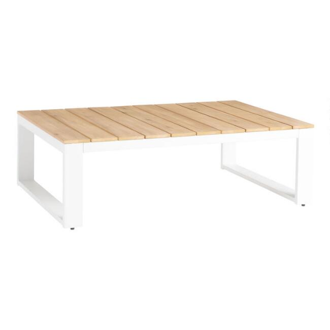White Steel and Acacia Ravello Outdoor Coffee Table