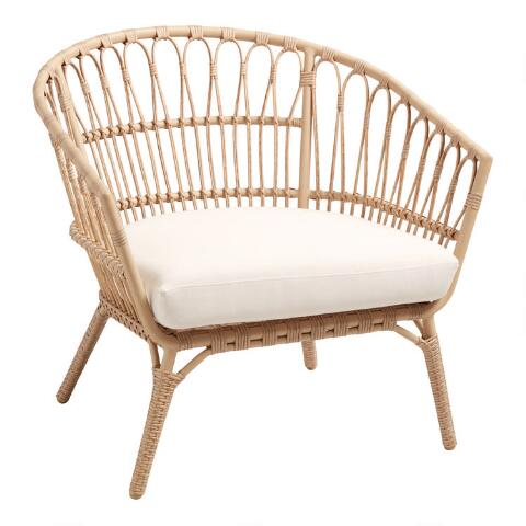 Wicker side chair with cushion