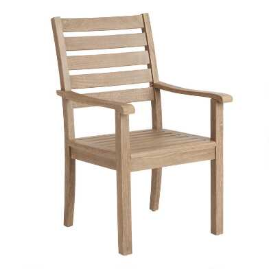Light Brown Eucalyptus Segovia Outdoor Dining Armchair