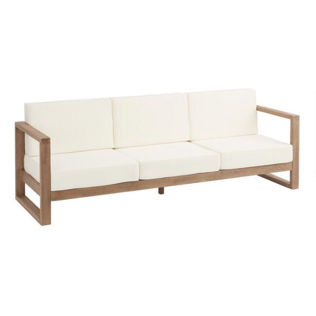 Light Brown Eucalyptus Segovia 3 Seater Outdoor Bench