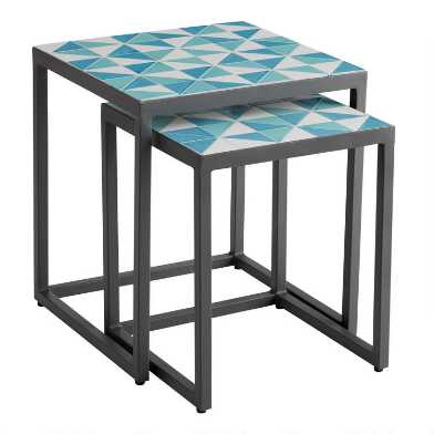 Blue and Aqua Tile Marcella Outdoor Nesting Tables Set of 2