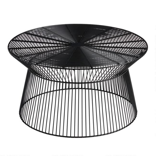 Round Black Metal Zeke Outdoor Coffee Table | World Market
