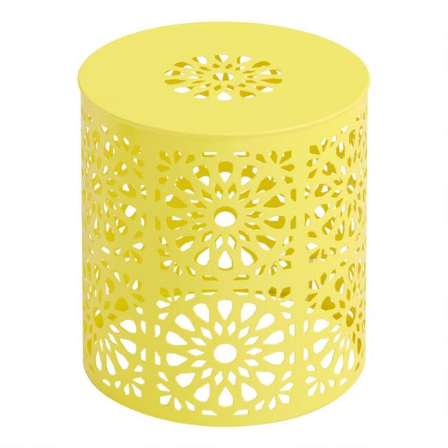 Yellow Soleil Outdoor Accent Stool