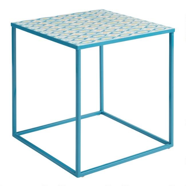 Deep Teal Ikat Marlow Outdoor Accent Table