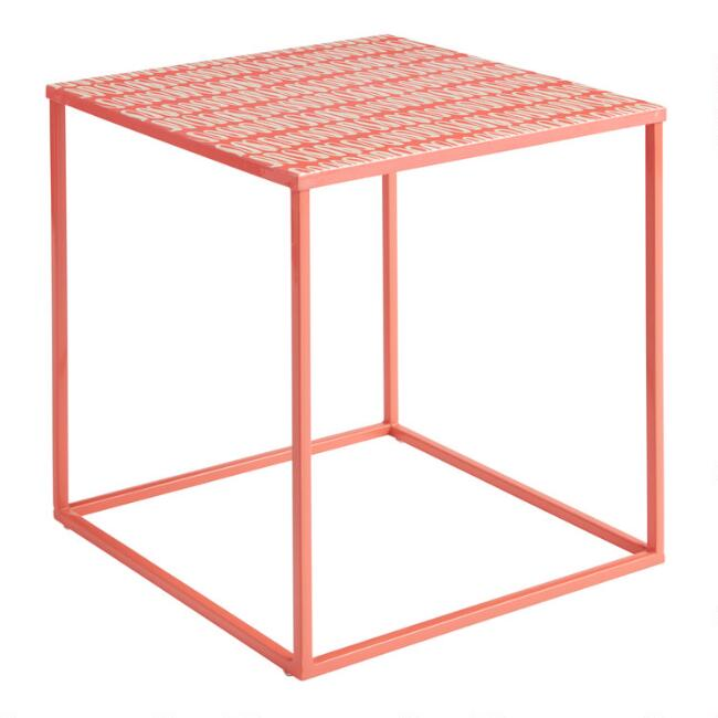 Bright Coral Marlow Outdoor Accent Table