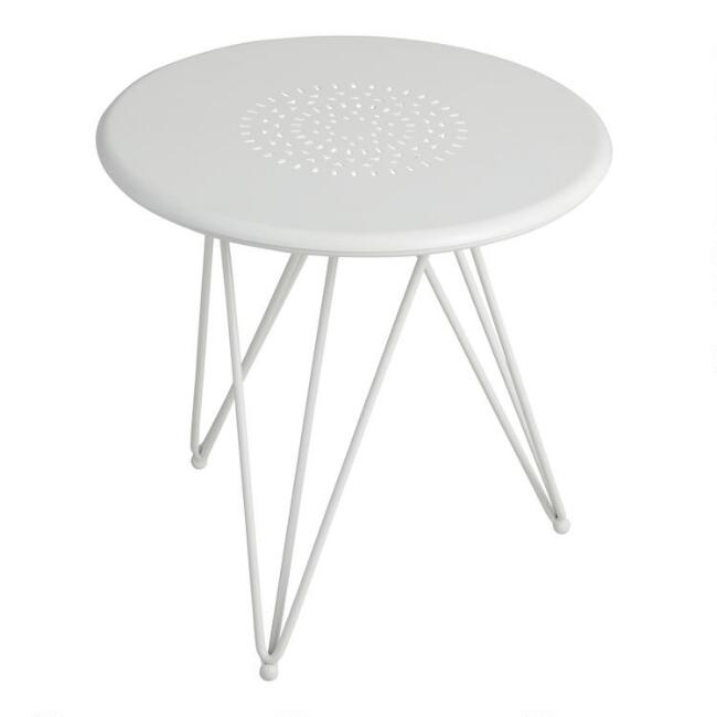 Large White Metal Flare Leg Layla Outdoor Accent Table