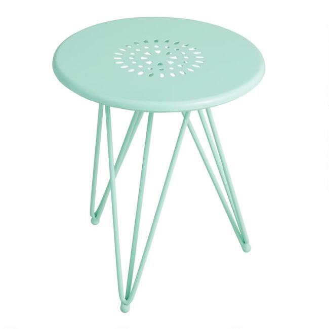 Medium Aqua Metal Flare Leg Layla Outdoor Accent Table