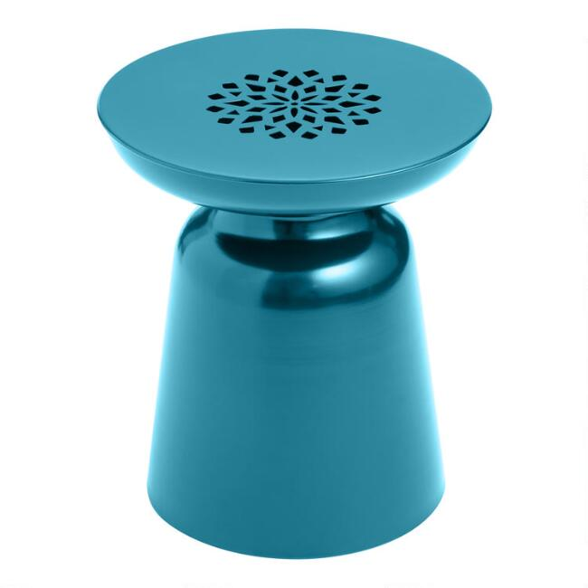 Deep Teal Dimitri Outdoor Accent Stool
