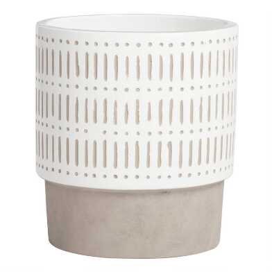 Large White Hand Painted Cement Ana Outdoor Planter