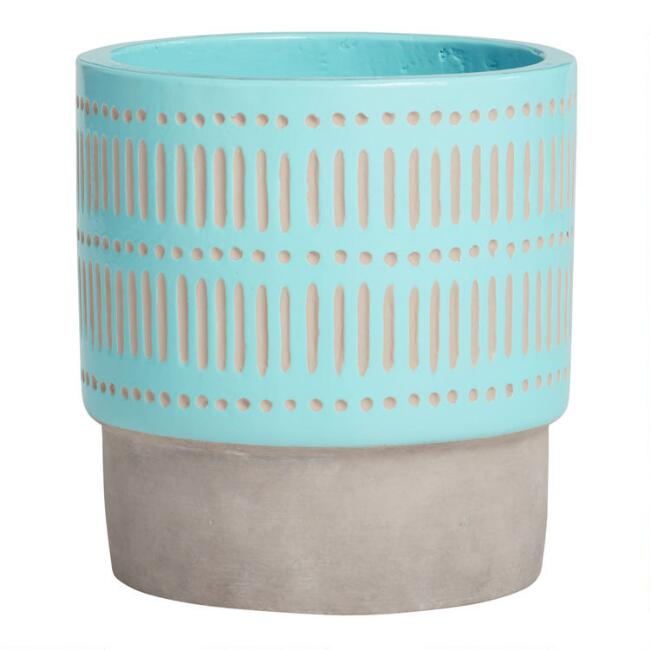 Medium Aqua Hand Painted Cement Ana Outdoor Planter