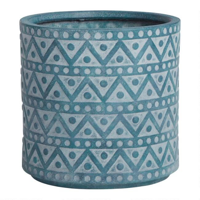 Teal Hand Painted Zigzag Harlie Outdoor Planter