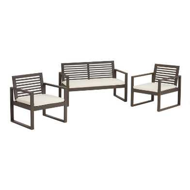 Gray Acacia Tanjier Outdoor Occasional Furniture 3 Piece Set