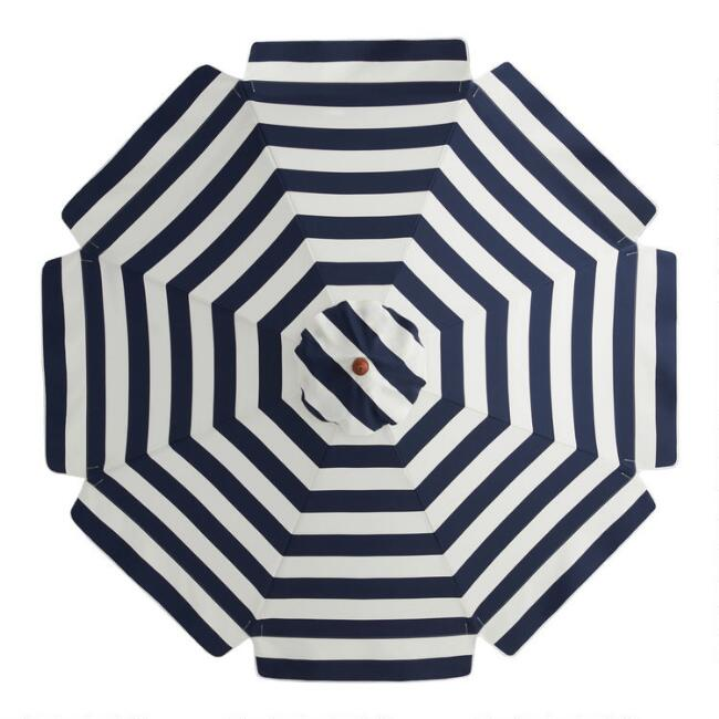 Navy and White Scalloped 9 Ft Replacement Umbrella Canopy