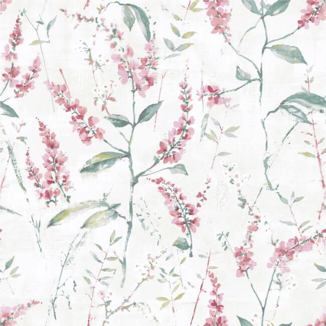 Cat Coquillette Pink Floral Sprig Peel and Stick Wallpaper