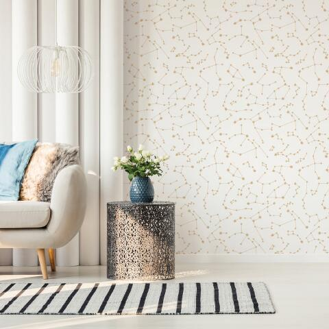 Gold And White Starry Night Peel And Stick Wallpaper World Market