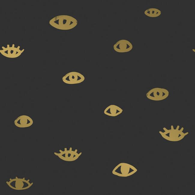 Black and Gold Eyes on You Peel and Stick Wallpaper