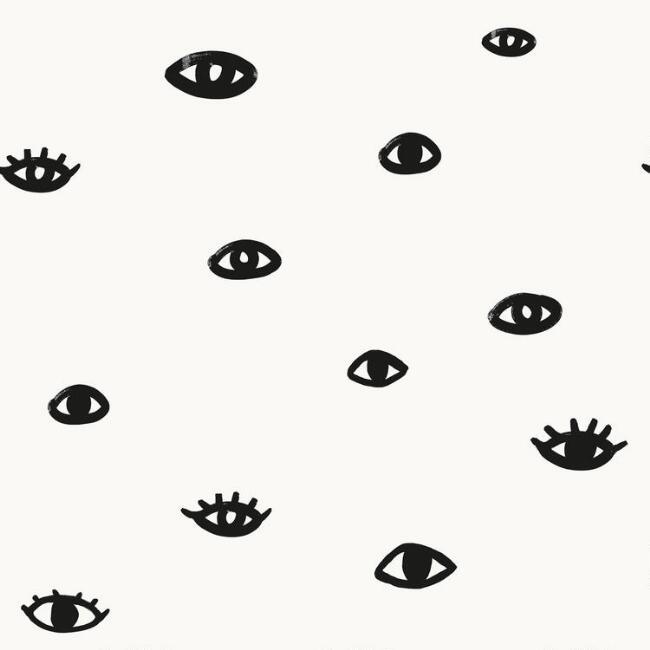 White and Black Eyes on You Peel and Stick Wallpaper