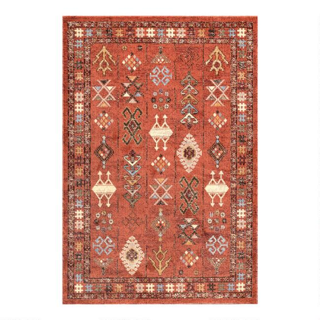 Orange Vintage Style Leah Area Rug
