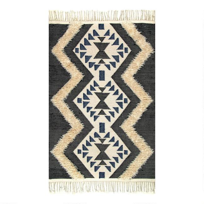 Ivory, Black and Blue Geometric Wool Jenny Area Rug