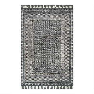 Gray and Ivory Diamond Vintage Style Carrie Area Rug