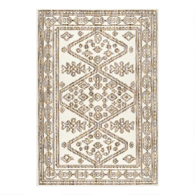 Ivory and Beige Floral Medallion Area Rug