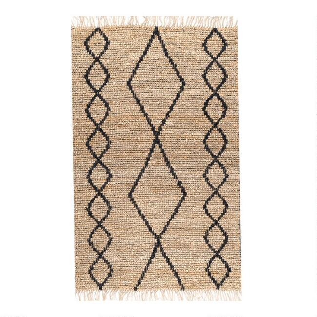 Natural and Black Woven Diamond Jute Nantucket Area Rug
