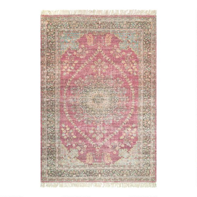 Red and Beige Floral Vintage Medallion Flatweave Area Rug