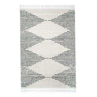 Ivory and Black Diamond Shag Casablanca Area Rug