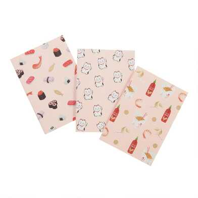 Takeout, Sushi And Lucky Cat Journals 3 Pack