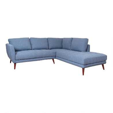 Indigo Blue Right Facing 2 Piece Campbell Sectional Sofa