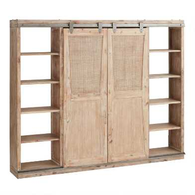 Beach Blonde Wood Barn Door Bookshelf