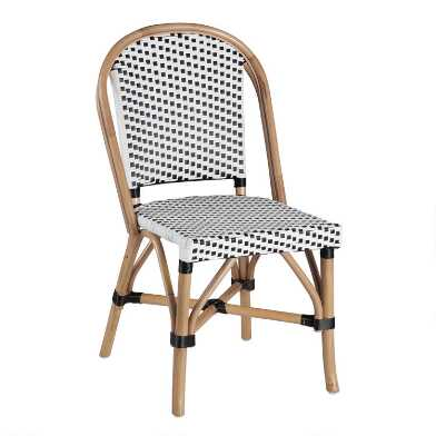 Black and White Woven Rattan Carla Dining Chair Set of 2