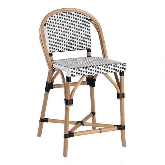 Black and White Woven Rattan Carla Counter Stool