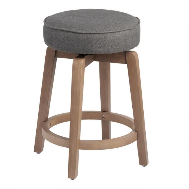 Backless Harlow Upholstered Swivel Counter Stool