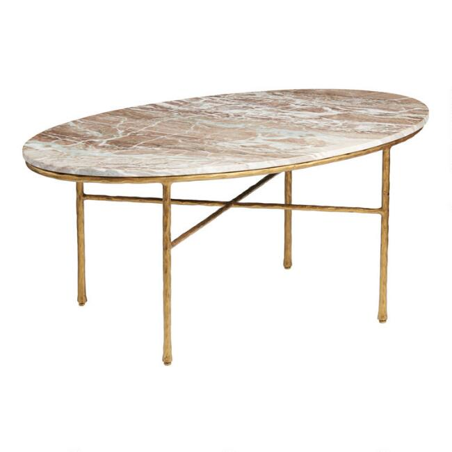 Oval Brown Marble Meera Coffee Table
