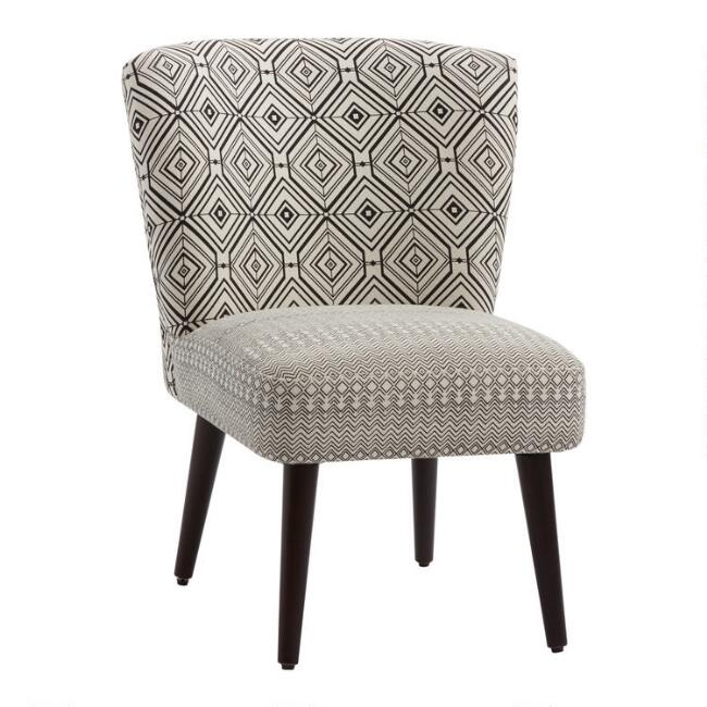 Black and White Geo Print Jenny Upholstered Chair