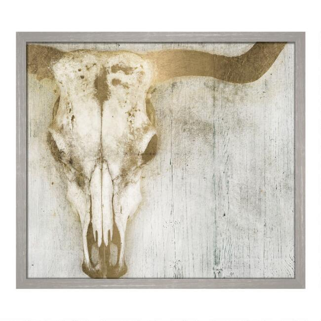 Bull Head Framed Canvas Wall Art