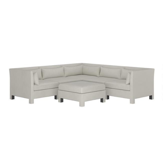 Mika 6 Piece Square Modular Sectional Sofa with Ottoman