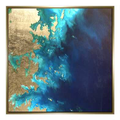 Gold Leaf Land & Sea Framed Canvas Wall Art
