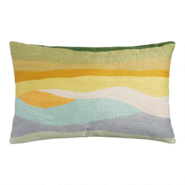 Yellow and Green Rolling Hills Lumbar Pillow