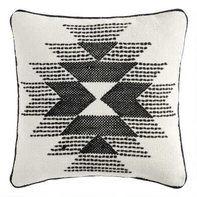 Black and Ivory Rise Indoor Outdoor Throw Pillow