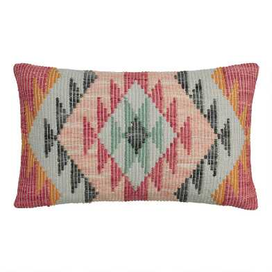 Multicolor Woven Rise Indoor Outdoor Lumbar Pillow