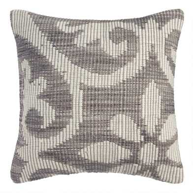 Gray Floral Bloom Indoor Outdoor Throw Pillow