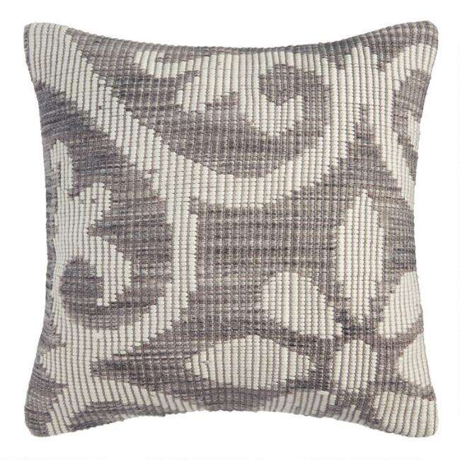 Gray Floral Bloom Indoor Outdoor Throw Pillow World Market