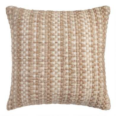 Natural Basket Weave Indoor Outdoor Throw Pillow