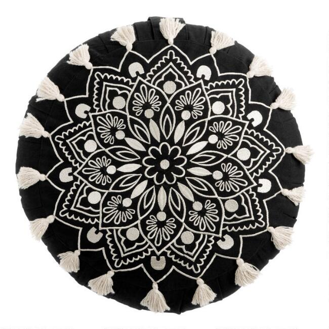 Round Black and White Mandala Embroidered Throw Pillow