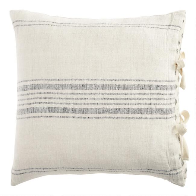 Gray and Blue Rustic Woven Stripe Linen Throw Pillow